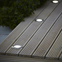 Blooma Flax Brushed Silver effect Mains-powered Neutral white LED Decking light