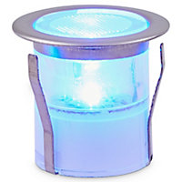 Blooma Hattan Brushed Silver effect Solar-powered Blue LED Decking light, Pack of 6