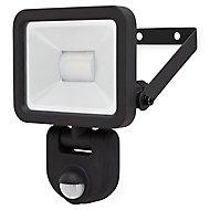 Blooma Weyburn Gloss Black LED PIR Motion sensor Outdoor Wall light 10W