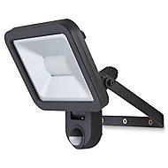 Blooma Weyburn Gloss Black LED PIR Motion sensor Outdoor Wall light 20W