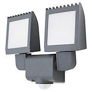 Blooma Parksville Matt Charcoal grey LED PIR Motion sensor Outdoor Security light
