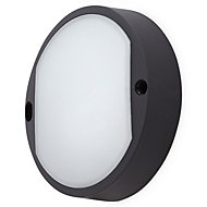Matt Black Mains-powered LED Outdoor Bulkhead Wall light 460lm