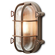 Blooma Clermont Matt Brown Mains-powered Halogen Outdoor Bulkhead Wall light