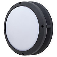 Blooma Coffman Matt Charcoal Grey Mains-powered LED Outdoor Bulkhead Wall light 680lm