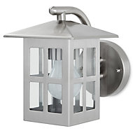 Blooma Medfra Silver effect Mains-powered Halogen Outdoor Lantern Wall light