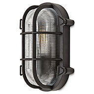 Blooma Clermont Matt Black Mains-powered Halogen Outdoor Bulkhead Wall light