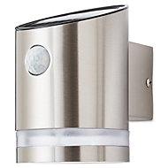 Blooma Gloss Silver effect Solar-powered LED External Cylinder Wall light