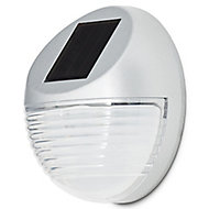 Gloss Silver effect Solar-powered LED Outdoor Bulkhead Wall light