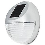 Gloss Silver effect Solar-powered LED Bulkhead Wall light