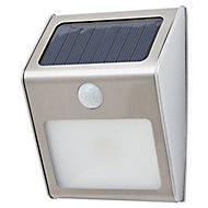 Brushed Silver effect Solar-powered LED PIR Outdoor Wall light