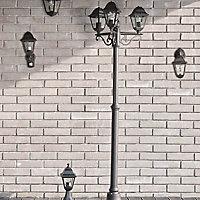Blooma Varennes Matt Black Mains-powered Halogen 4 faces Lamp post