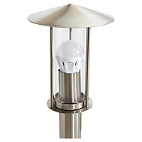 Blooma Chignik Brushed Silver effect Mains-powered Halogen Post light