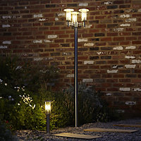 Blooma Chignik Brushed Silver effect Mains-powered Halogen Lamp post