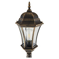 Blooma Richelieu Brushed Gold effect Mains-powered 6 faces Lamp post