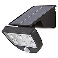 Blooma Summerside Matt Black Solar-powered LED Motion sensor External Wall light