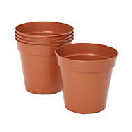 Lei Round Brown Grow pot (H)150mm (Dia)127mm, Pack of 5