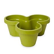 Nurgul Green Plastic Trio Plant pot (Dia)46cm