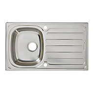 Cooke & Lewis Nakaya Polished Inox Stainless steel 1 Bowl Sink & drainer