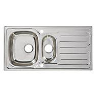 Cooke & Lewis Nakaya Polished Inox Stainless steel 1.5 Bowl Sink & drainer