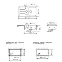 Cooke & Lewis Arber Black Composite quartz 1.5 Bowl Sink & drainer