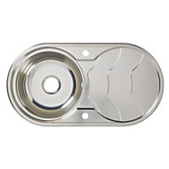 Cooke & Lewis Jemison Polished Stainless steel 1 Bowl Sink & drainer