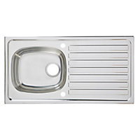 Utility Polished Stainless steel 1 Bowl Sink & drainer