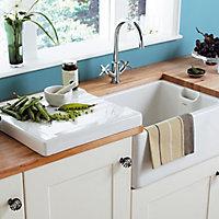 Cooke & Lewis Chadwick White Ceramic 1 Bowl Sink