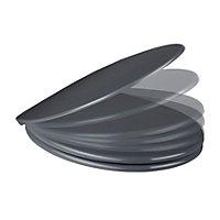 Cooke & Lewis Diani Grey Top-Fix Soft close Toilet seat