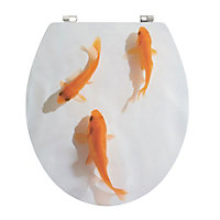 Cooke & Lewis Nosara Multicolour Goldfish Standard close Toilet seat