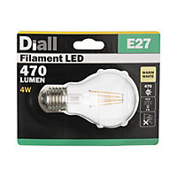 Diall E27 4W 470lm Classic Warm white LED Filament Light bulb