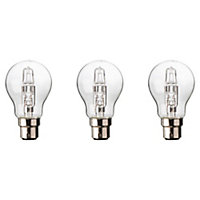 Diall B22 77W Classic Halogen Dimmable Light bulb, Pack of 3