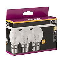 Diall B22 30W Mini globe Halogen Dimmable Light bulb, Pack of 3