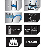 Mac Allister 3 tread Plastic & steel Foldable Step stool (H)1.12m
