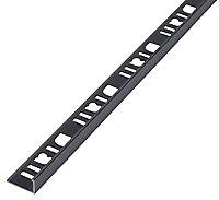 Diall Gun metal Aluminium Angled edge Tiling trim, 10mm