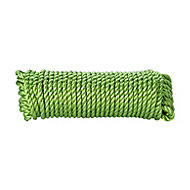 Diall Green Polypropylene (PP) Twisted rope, (L)4.5m (Dia)8mm