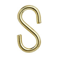Diall Brass-plated Steel S-hook, Pack of 4