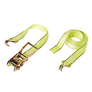 Diall Yellow Ratchet tie down & hook (L)4500mm