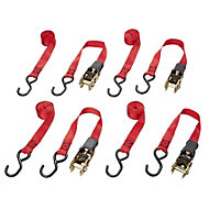 Diall Red 3m Ratchet & hook, Pack of 4