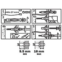Diall Steel Hollow wall anchor (L)37mm, Pack of 4