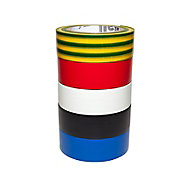 Diall Multicolour Electrical tape (L)10m (W)19mm, Pack of 5