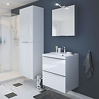 GoodHome Imandra Gloss White Vanity & basin Cabinet (W)600mm (H)600mm