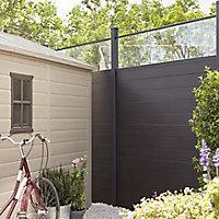 GoodHome Neva Transparent 1/4 Fence panel (W)1.79m (H)0.44m