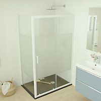 Cooke & Lewis Onega Frosted effect 2 panel Sliding Shower Door (W)1200mm