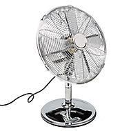 """Chrome effect 12"""" 45W Desk Fan"""