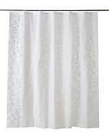 Cooke & Lewis Ledava White & Silver Leaf Shower curtain (L)1800mm
