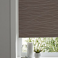 Boreas Corded Brown & white Wave Blackout Roller Blind (W)90cm (L)195cm