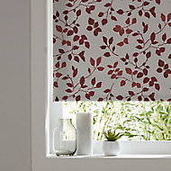 Boreas Corded Ivory & red Foliage Blackout Roller Blind (W)90cm (L)195cm