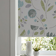 Boreas Corded Green & white Floral Blackout Roller Blind (W)90cm (L)195cm