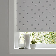 Boreas Corded Grey & ivory Stars Blackout Roller Blind (W)90cm (L)195cm