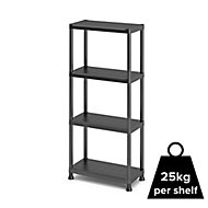 4 shelf Polypropylene Shelving unit (H)1350mm (W)600mm
